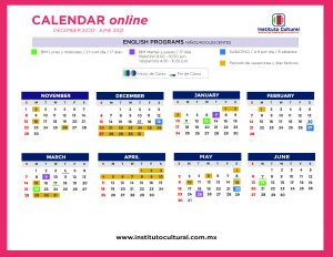 Calendar online English programs ninos, adolescentes