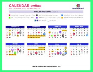 Calendar online English programs adults +15